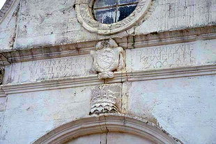 The Kalergis coat of arms on Profitis Ilias Church, Mournies