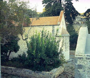 A courtyard in the Aretiou Monastery in Mirabelo