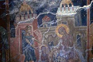 Une fresque dans l'église de la Panagia Mesohoritisa à Males