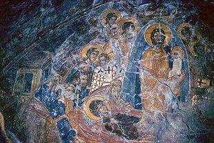 La Dormition de la Vierge dans l'église de la Panagia Mesohoritisa à Males