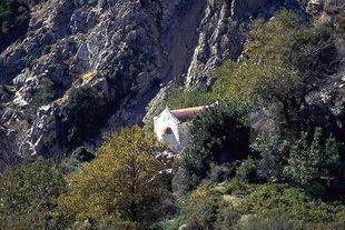 Agia Triada Church in a valley near Males