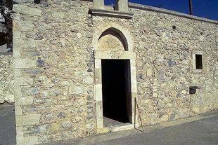 The facade of the Panagia Mesohoritisa Church in Males
