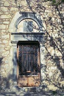 The church portal in Agios Georgios Vrahatsiotis Monastery in Latsida
