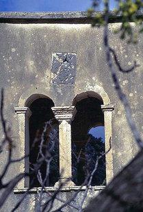 A crest on the belfry of Agios Georgios Vrahatsiotis Monastery in Latsida