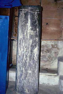 An ancient column in the Panagia Church in Panagia