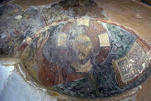 The Pantocrator fresco in the dome of Michael Archangelos Church in Asomatos