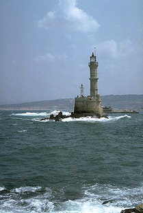 The Venetian lighthouse in Chania harbour