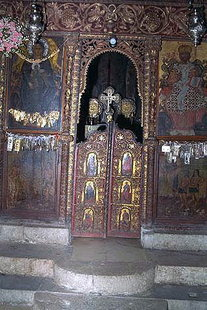 The wooden altar screen in the monastery church, Moni Kardiotissa