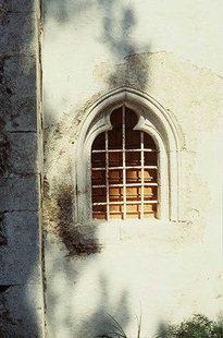 The decorative window of the church of Agia Moni