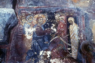 The Raising of Lazarus fresco in Agia Pelagia Church