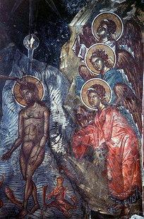 Die Taufe Christi, Fresko in der Panagia-Kirche in Kapetaniana