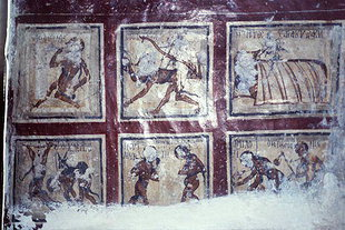 Punishment of the Damned fresco in Agios Ioannis Theologos Church, Seli
