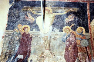 The Crucifixion fresco in the Esodia Theotokou Church in Sklaverohori