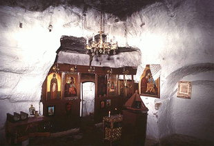 The interior of the cave chapel of the Panagia in Matala