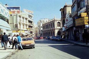 The busy street of Odos 25  Avgoustou in Iraklion